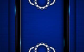 Fundo azul abstrato no estilo indiano superior. Modelo de design para capa, apresentação de negócios, banner web, convite de casamento e embalagens de luxo. Ilustração vetorial com borda dourada.