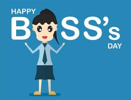 Happy Boss's day background with boss woman that is talking and smiling . Vector character design of leader isolated on blue background with copy space.