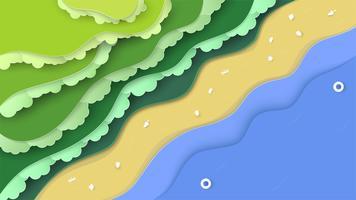 Scène nature vue de dessus de la forêt avec la mer et la plage. Fond de paysage pour la journée mondiale de l'environnement le 5 juin. Illustrateur de vecteur en papier découpé, artisanat, origami.