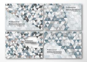 Modern abstract background in polygon shape. Set of template design in blue and white tone for business presentation, cover, brochure, packaging and web banner.