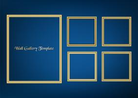Set of decorative frame picture with gold border, Vector design on blue background with copy space in premium concept.