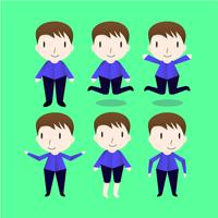 Set of the man characters design isolated on green background.