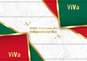 Vector a ilustração para o dia da independência de México o 16 de setembro para o fundo comemorado.