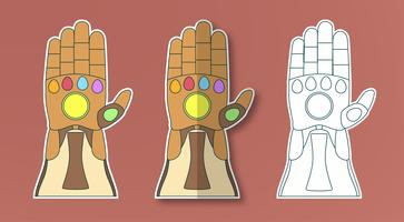 Glove of Thanos with 6 gems. Vector illustration in sticker paper cut style. Art craft for kid.