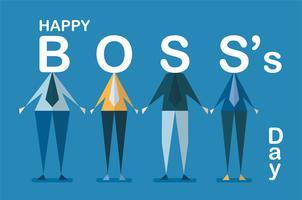 Fondo feliz del día de Boss con el empleado aislado en fondo azul. Personaje de diseño vectorial.