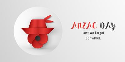Gelukkige Anzac-dag op 25 april voor wie diende en stierf in oorlog met Australië en Nieuw-Zeeland. Sjabloon element ontwerp voor banner, poster, groet, uitnodiging. Vectorillustratie in papier gesneden, ambachtelijke stijl.