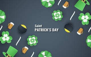 Template for St. Patrick's Day on Sunday, March 17. Vector illustration in 3D paper cut and craft style.