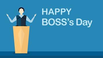 Fondo del día de Happy Boss con el hombre jefe que está hablando en el escenario. Vector el diseño de carácter de líder aislado en fondo azul con el espacio de la copia.