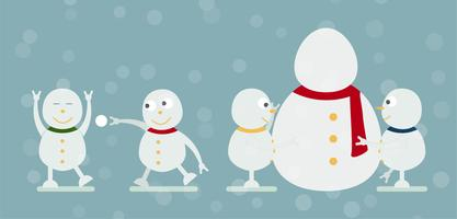Snowman family portrait on blue background for Merry Christmas on 25 December. Fun of kids.