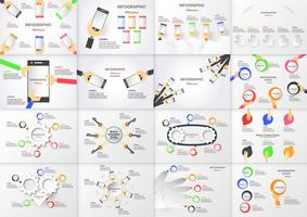 Conjunto de elemento de infográficos com mão segurando a caixa do círculo colorido e telefone celular. Gráficos para apresentação de negócios com espaço de cópia no fundo cinza