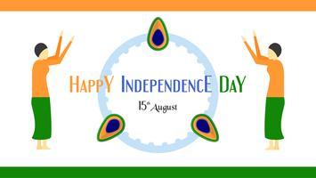 Feliz día de la independencia del país de la India y la gente india. Diseño de la ilustración del vector aislado en el fondo blanco.
