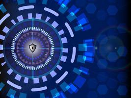 Conceito de segurança cibernética digital com fundo de tecnologia do círculo, ilustração vetorial