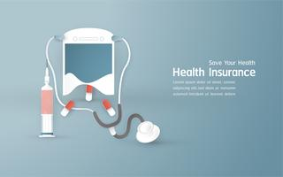 Illustration vectorielle dans le concept de l'assurance maladie. Modèle est sur fond bleu pastel pour la couverture, bannière Web, affiche, présentation de diapositives. Art Craft pour enfant en 3D, style de coupe.