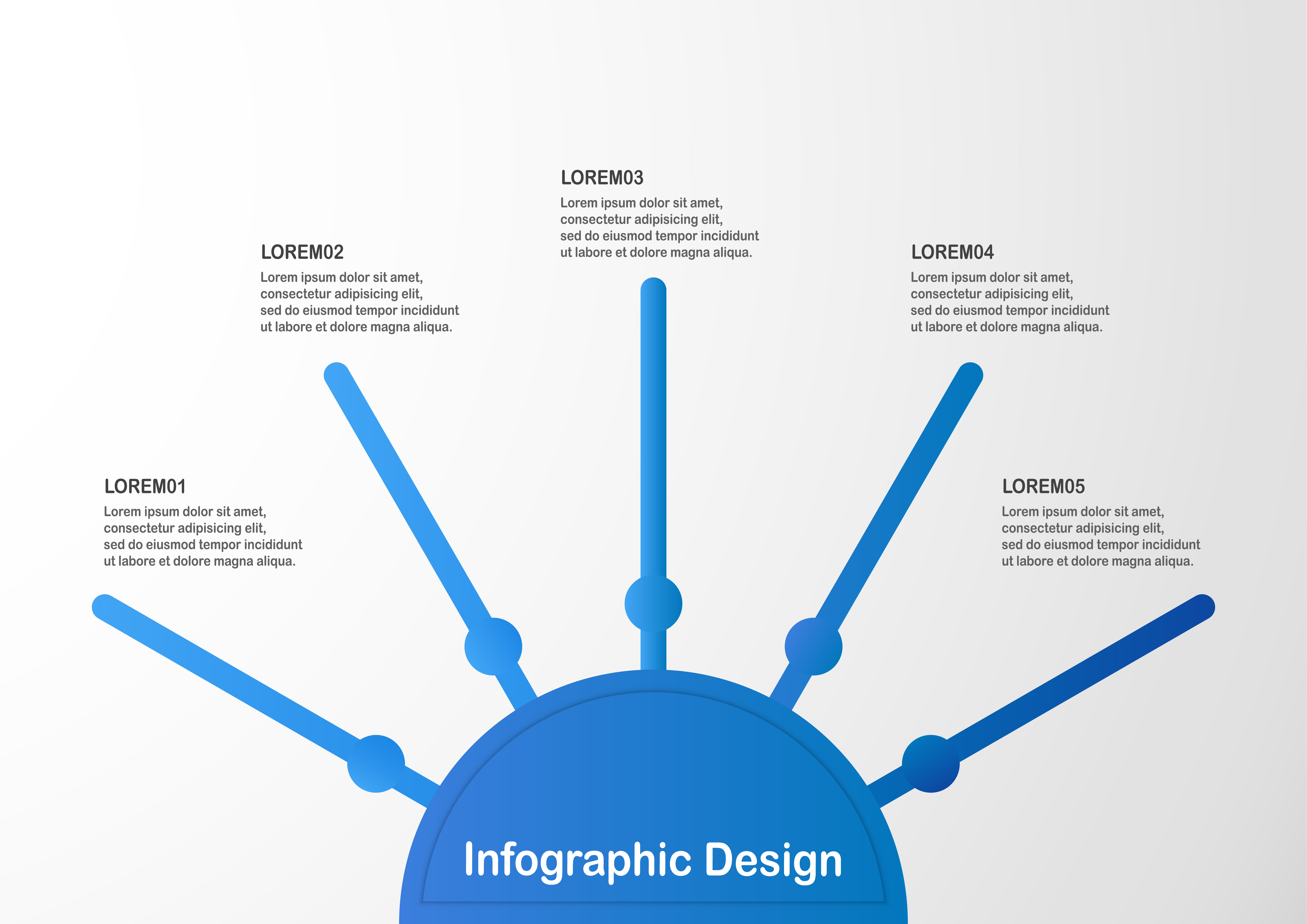 Modern blue infographic element on grey background with copy space
