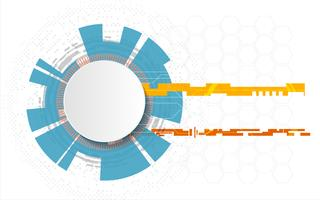 Weißer Technologiekreis und abstrakter Hintergrund der Informatik mit Stromkreislinie. Geschäft und Verbindung. Futuristisches und Industrie 4.0 Konzept. Internet Cyber und Digital Transformation Network