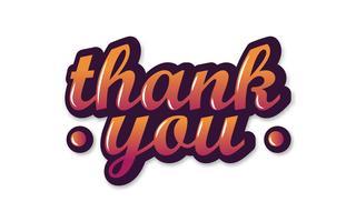 Dank u Hand schrijven bericht van de brieven het met de hand gemaakte kalligrafie op geïsoleerde witte achtergrond als grafisch ontwerp van de reclamekunst