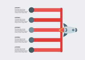 Modernt infografiskt element med raket för företagspresentation, mall, webbbanner och rörelsesfilm.