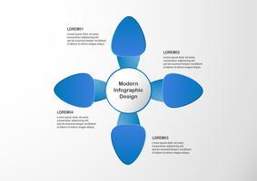 Modernt blått infographic element på grå bakgrund med kopia utrymme för företagspresentation, mall, webb banner och rörelse grafik.