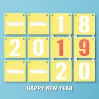 Gott nytt år 2019 dekoration på blå bakgrund. Vektor illustration med kalligrafi design av nummer i pappersskärning och digitala hantverk. Konceptet visar att det har förändrats av året.