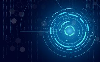 Blue technology circle and computer science abstract background with blue and binary code matrix. Business and Connection. Futuristic and Industry 4.0 concept. Internet cyber and network theme. vector