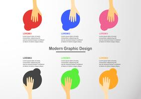 Infographic element with hand holding colorful circle box. Charts for business presentation with space for text. vector
