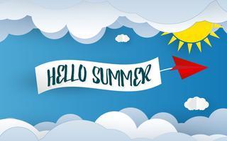 Olá fundo de arte de papel de verão. Elemento de céu azul e nuvem. Conceito de férias e férias. Corte de papel e tema de papel de parede. Modelo de design gráfico de ilustração vetorial