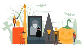 Minimal scene for halloween day, 31 October, with monsters that include dracula, glass, pumpkin man, frankenstein, umbrella, witch woman. Vector illustration isolated on white background.