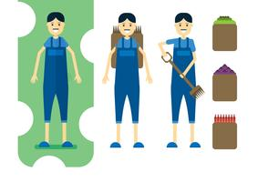 Set of farmers with basket for food, fruit and vegetable. Character in vector illustration design.