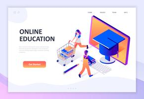 Concepto isométrico moderno diseño plano de la educación en línea