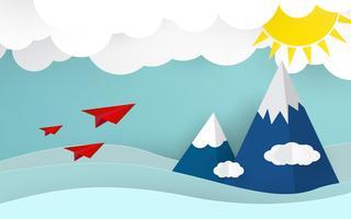 Avião de origami no céu azul com nuvens e sol. Conceito de verão e natureza. Conceito de negócio e sucesso. Arte de papel e Tema de estilo de artesanato digital