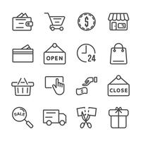 Set di icone dello shopping. Concetto di Black Friday e Cyber Monday Thin line icon theme. Icone di simbolo del tratto di contorno. Sfondo bianco isolato. Illustrazione vettoriale.