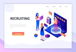 Modern flat design isometric concept of Recruiting vector