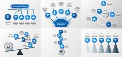 Set van infographics elementen ontwerp in concept van evenwicht met kopie ruimte voor tekst. Sjabloon voor bedrijfspresentatie, brochure, motion graphic en magazine.