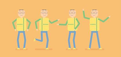 Design de personagens de pessoas idosas que estão se exercitando. Desgn da ilustração do vetor do homem mais idoso isolado no fundo alaranjado.