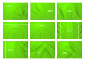 Set van groene abstracte achtergrond met kopie ruimte voor tekst. Modern sjabloonontwerp voor dekking, webbanner, scherm en tijdschrift. Vector illustratie.