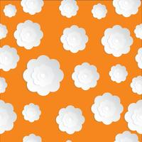 Seamless Flowers Paper cut on the Orange background vector