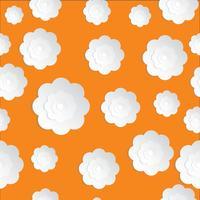 Seamless Flowers Paper cut på den orange bakgrunden