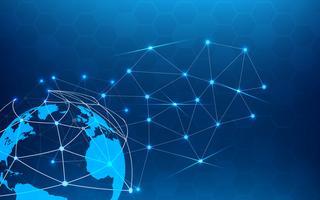 Abstrato azul tecnologia com ponto de linha branca. Conceito de negócio e conexão. Internet cyber e tema de rede. Indústria inteligente e papel de parede de ciência de computador. Futurista e Indústria 4.0