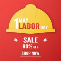 Happy Labor day on 1 May of years. Template design for banner, poster, cover, advertisement, website. Vector illustration in paper cut and craft style on red background.