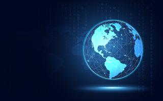 Fondo azul futurista de la tecnología del extracto de la tierra. Inteligencia artificial de transformación digital y concepto de big data. Negocio de crecimiento de la seguridad informática y el concepto de inversión. Ilustración vectorial