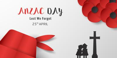 Happy Anzac Day on 25 April for who served and died in Australia and New Zealand war. Template element design for banner, poster, greeting, invitation. Vector illustration in paper cut, craft style.