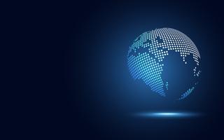 Futuristisk värld digital transformation abstrakt teknik bakgrund. Stor datajord och affärs- och investeringsekonomi. Vektor illustration