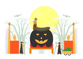 Minimal scene for halloween day, 31 October, with monsters that include witch woman. Vector illustration isolated on white background.