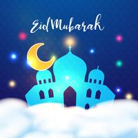 Eid Mubarak feliz en plantilla colorida del fondo del diseño de la ceremonia islámica del kareem del Ramadán. Fiesta tradicional árabe. Vacaciones y concepto cultural. Ilustracion vectorial Patrón de decoración del cartel del arte.