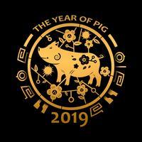 Kinesiskt nytt år 2019 och Årets gyllene gris. Semester- och festivalkoncept. Zodiac tema. Gott nytt år tema. Vektor illustration bakgrund