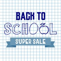 Back to school super sale background. Advertising tag concept.