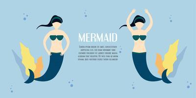 Carácter de niña sirena en el mar azul. Diseño de ilustración vectorial en estilo plano con espacio de copia de texto.