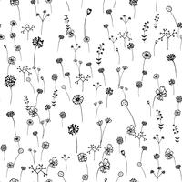 Seamless flowers pattern. Hand drawn outline stroke . Art and Abstract concept. Floral and Nature theme. Thin line sketch. Vector illustration. Isolated white background