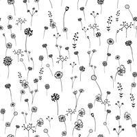 Patrón de flores sin fisuras Trazo de contorno dibujado a mano. Arte y concepto abstracto. Tema floral y de la naturaleza. Boceto de línea delgada. Ilustracion vectorial Fondo blanco aislado