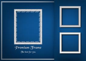 White picture frame on blue gradient background. vector
